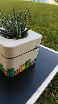 Colourful Handmade Concrete Planter Pot, Concrete Vase, Indoor Planter, Hanging Plants, Concrete Plant Pots - These stylish and decorative colourful concrete pot is fully handmade and handpainted with non-toxic - Concrete Plant Pots, Concrete Crafts, Concrete Garden, Concrete Projects, Concrete Planters, Concrete Furniture, Indoor Planters, Diy Planters, Indoor Cactus