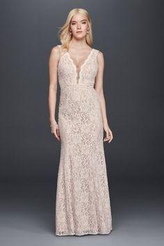 Lace Sheath Wedding Dress with Plunging V-Neckline - Davids Bridal
