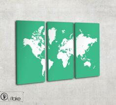 World map canvas art - world map art - Custom colors - Large home decor on 3…