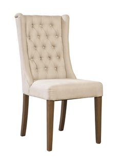 The sleek presence of this linen dining chair is made visually interesting by the petite winged back highlighted with hand-tied button tufting.  W:20 x D:21 x H:40.5