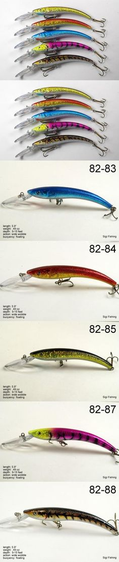 Lot of Five 5.9 Deep Diving Sigi Crankbait Fishing Lures for Northern Pike B Lips cause built-in action and easy casting. These lures have been custom designed by us at Sigi Fishing. Built-in rattles to attract fish. Detailed lure specs available on pictures.  #Akuna #Sports