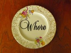 Whore hand painted vintage china bread and by trixiedelicious