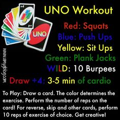 That one time I turned a workout into a game! This is a super fun, get it done workout that you can tailor to your own s Fitness Games For Kids, Fitness Activities, Exercise For Kids, Uno Card Game, Uno Cards, Card Games, Physical Activities, Health Education, Training