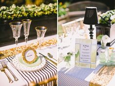 Green Wedding Shoes Feature : Gold, Black & White, Jadeite Place Setting, Mirrored Antiques : Parisian Vow Renewal : Lovelyfest Event Design