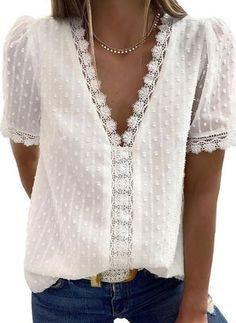 Blouse Sexy, Short Sleeve Blouse, Short Sleeves, Puff Sleeves, Long Sleeve, Top Mode, Crochet Tunic, Crochet Tops, Tunic Tank Tops