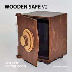wooden safe v2 vector model project plan ready for laser cutting. Safe 5