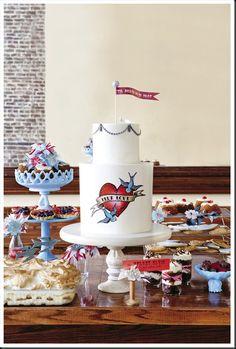 Rockabilly wedding cake ~ mom tat detail for moms birthday :)