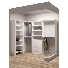 TidySquares Classic White Wood X Corner Walk In Closet Organizer (White)  (Chrome)