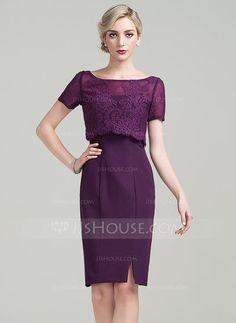 [R$ 342.66] Tubo Decote redondo Coquetel tecido de seda Vestido para a mãe da noiva com Frente aberta (008085273)
