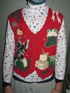 Vtg Retro 80s Womens Tacky Ugly Kitty Kitten Cat Christmas Holiday ...