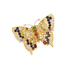 A Gold, Diamond and Colored Stone Butterfly Brooch | Lot | Sotheby's