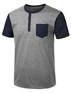 URBANCREWS Mens Hipster Hip Hop Basic Jersey Henley T-shirt-HGRAYNAVY MEDIUM