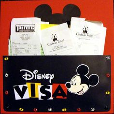 A day at Disney, how cute to keep the receipts, could alter the design for any keepsakes