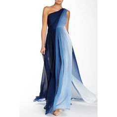 ML Monique Lhuillier Ombre Chiffon Evening Gown ($200) ❤ liked on Polyvore
