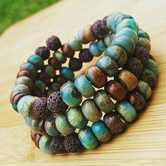 Snake Skin Jasper and Lava Rock Bead Essential Oil Diffuser Bracelet