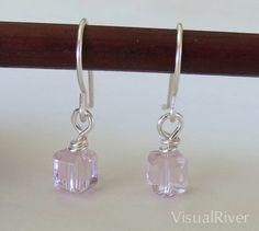 Pink Swarovski Crystal Cubes Sparkling Dangle by visualriver, $15.00