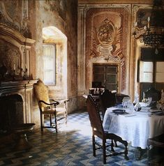 The the dining room at the neo-classical Villa Spedalotto, featuring Sicilian tiles on the floors. Via @LLSoane