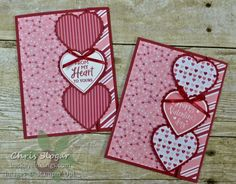 Offset gatefold cards with overlapping decorative die cuts ~ by Chris Slogar, Buckeye Inklings instructions and video Valentines Day Cards Handmade, Valentine Crafts, Greeting Cards Handmade, Homemade Valentine Cards, Paper Cards, Folded Cards, Stampin Up, Cricut Cards, Stamping Up Cards