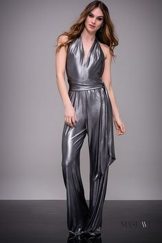 43e2fceb8401 Silver Metallic Halter Neck Contemporary Jumpsuit by Jovani  M51819  Jovani   Jumpsuit Contemporary Dresses