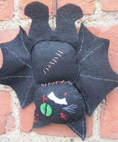 Black Bat Cat Made Of Felt by LilyandNells on Etsy, £8.00