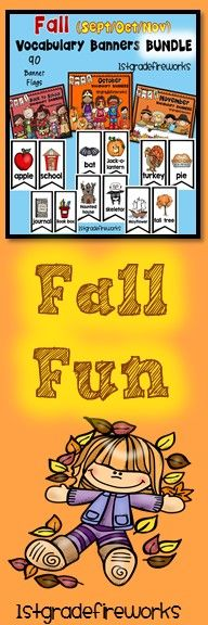 FALL  VOCABULARY BANNERS!  BUNDLE!  Vocabulary Banners for the months of September, October, & November. Banners make a HUGE RESOURCE for writing centers. ESL students will have a visual for language aquisition. Emergent readers will have scaffolded support for writing. Gifted students can expand their writing portfolios.https://www.teacherspayteachers.com/Product/FALL-Vocabulary-Banners-BUNDLE-2584010
