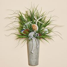 "24""""H Wall Tin Filled With Summer Grasses, Large Fancy Shells and Finger Starfish"