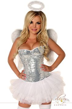 Costume includes strapless corset with underwire cups, side zipper closure, lace-up back for cinching and matching thong; Halo; Wings; and White Pettiskirt.    PLEASE NOTE: Due to the popularity of this item it may take an additional 4 days for processing of this item. 2 Day shipping will not expedite this only the shipping time. For more information please see our Store Policy.