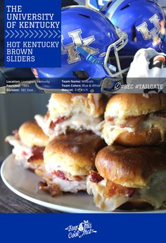 Kentucky is known for many fine things. Horse racing. Basketball. Bourbon. But how about Hot Kentucky Brown Sliders? Your next Kentucky Tailgate must try! #kentucky #wildcats #tailgate #football buythiscookthat.com/kentucky-tailgate/