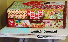 DIY Scrappy Fabric Covered Suitcase Tutorial. Cute storage idea!