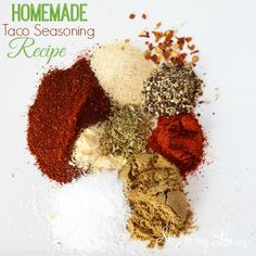 Easy Taco Seasoning recipe! Make it at home with ingredients you already have in the cupboard! Healthy and chemical free. www.skiptomylou.org #tacoseasoningrecipe #homemadetacoseasoning #homemaderecipes #recipes