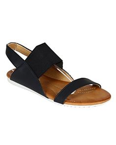 2f33089646b595 Nature Breeze CA48 Women Mixed Media Open Toe Elastic Slingback Flat Sandal  Black Size 90 -