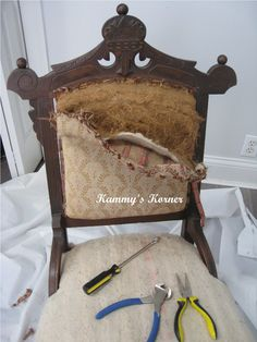 Antique Chair Redo - this is the junk that was inside my chair when I stripped it! Yuck!