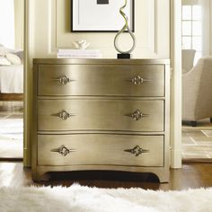 Hooker Furniture Sanctuary Three Drawer Shaped Front Chest in Gold