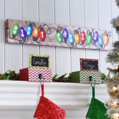 Merry Christmas Light  - easy to paint on canvas then surround it with real old time Christmas lights.