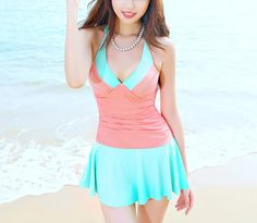 Women Pink/Blue Strap Swimsuit Skirt Swimsuit Girl Swimming Dress Swimming Clothes With Integrated Bottom on Etsy, $42.00