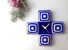 ガラス時計 Cross (ブルー)