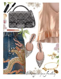 """Fantasy"" by juliehooper ❤ liked on Polyvore featuring Gucci, Rochas, Maison Margiela, tarte, Kevyn Aucoin, Effy Jewelry, Bobbi Brown Cosmetics, Alex and Ani, denim and dragon"