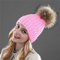 6e81d83a29bb0 Xthree mink and fox fur ball cap pom poms winter hat for women girl  s hat  knitted bea…