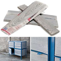 NewspaperWood is a new material invented by Mieke Meijer, developed together with the Dutch designlabel Vij5 and now part of a new NewspaperWood company.  more projects and information on www.NewspaperWood.com