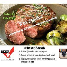 #InstaSteak Instagram contest is LIVE! Win free steaks! Enter by 2/28