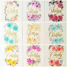Finally finished these 9 names commissioned pieces. So fulfilling to do these kind of things coz I know someone will receive them as gifts  #calligrafikas #grafikas #dreweuropeo #moderncalligraphy #lettering #handlettering #brushlettering #watercolor #calligrafikasnames #commissionedwork #commission  Paper: Arches 300gsm Paint: Shin Han Pro & korean, Schmincke Horadam, Sennelier & Finetec gold palette watercolors Brush: Silver Brush Black Velvet round no 6, Voyage round no 2, 6, & 8