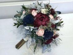 Burgundy, Pink, Navy Wedding Bouquet made with sola flowers - choose your colors - Custom - Alternative bridal bouquet - bridesmaids bouquet - Mariage Navy And Burgundy Wedding, Navy Wedding Flowers, Maroon Wedding, Winter Wedding Flowers, Floral Wedding, Fall Wedding, Burgundy Tie, Burgundy Bridesmaid, Wedding Ideas