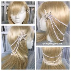 This gorgeous starfish and pearl headpiece is perfect for all the mermaid babes out there! Two starfishes embellished with crystals and pearls clip in to the hair and drape 3 strands of pearls beautifully down the back of the hair. Every mermaid needs her crown and this elegant piece will have you singing to your fishie friends in no time! Can be customized as well if you send us a message- this gorgeous pearly mermaid headpiece is perfect to pair with one of our beautiful bras and Sequin…