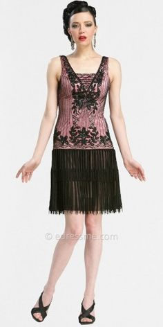 Beaded Fringe Skirt and Drop-Waist Short Dresses by Sue Wong