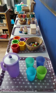 Montessori Practical Life Shelf - pouring water activity, Waldorf sorting and matching activity sets. #montessori #waldorf #practicallife