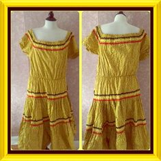 Vintage 60s Maxi Dress Boho Hippie 16 Vintage 60s Faithful Frocks Maxi Dress Boho Hippie 16 Bust 38 inches Length 46 inches Elastic Waist Peasant style Gingham Ruffle Square Neck Short Sleeve or Off Shoulder Yellow Black Sprint Made in USA Original Tag still attached Small hole in bottom needs to be stitched Ric Rack Trim EUC  Trades Faithful Frocks Dresses Maxi