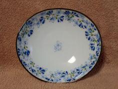 Flower-arabesque Mini Oval Dish Plate Mino-Yaki Pottery Japan