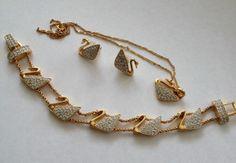 Vintage Signed Swan SWAROVSKI Crystal Necklace Bracelet Earrings(65)