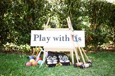 Garden party - lawn games for guests at the while photos are being taken and during the reception Lawn Games Wedding, Garden Party Wedding, Wedding Reception, Our Wedding, Reception Ideas, Wedding Ideas, Quirky Wedding, Garden Parties, Brunch Wedding