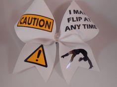 ac79b9e8f5d1f Cheer Bow CAUTION I May Flip At Any Time w  rhinestone center allstar  cheerleading custom cheer bows by BlingItOnCheerBowz